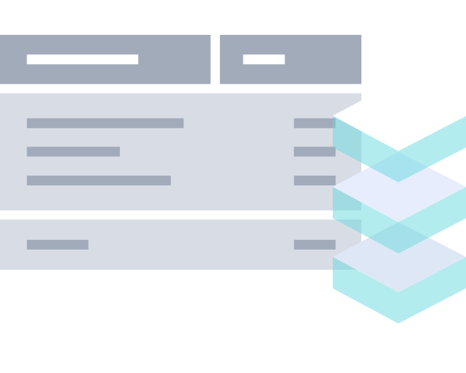 Illustration of an invoice and data layered blocks