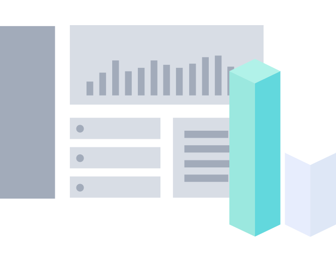 Illustration of dashboard and blocks of data